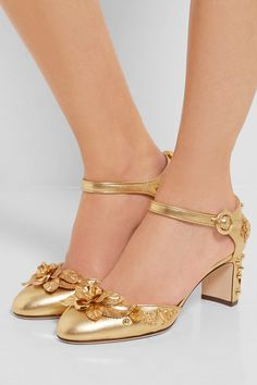 Heel measures approximately 60mm/ 2.5 inches Gold textured-leather Buckle-fastening ankle strap Made in Italy