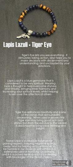 Lapis • Tiger's Eye • Gun Charm Yoga Mala Bead Bracelet