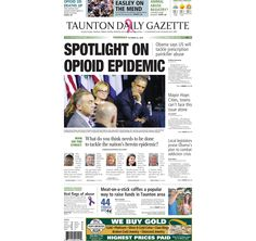 The front page of the Taunton Daily Gazette for Thursday, Oct. 22, 2015.