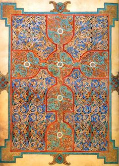 Carpet Pages and the Private Library: [c]arpet pages are wholly devoted to ornamentation with brilliant colors, active lines, and complex patterns of interlace. They are normally [but not always] symmetrical, or very nearly so, about both a horizontal and vertical axis.... Some art historians find their origin in Coptic decorative book pages, ... and they also clearly borrow from contemporary metalwork decoration. Oriental carpets, or other textiles, may [also] have been influences....