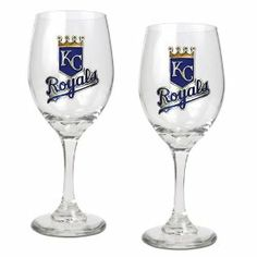 MLB Kansas City Royals 14-Ounce Wine Glass (Set of Two) by Great American Products. $27.85. The perfect compliment to your Bar or Game Room décor.. Handcrafted  high-quality metal logo. Decorated with hand-crafted Official Team Logos.. Classically designed pair of 15oz Glass Mugs.