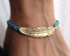 Blue Cord with Gold leaf charm wish bracelet Wedding by pier7craft, $8.50