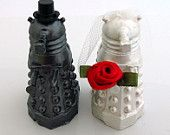 Where were these when I was planning my wedding?!    Doctor Who Wedding Cake Toppers, Dalek Bride and Groom. $50.00, via Etsy.