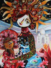"""Galerie Parfums d'ici et d'ailleurs """"Une lumière au bout du monde"""" 60 x 80 cm - Technique mixte - Laure Ketfa"""