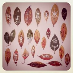 drawings on leaves by Souther Salazar