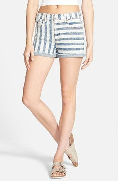 Fire Stripe High Waist Cuffed Shorts Acid www.teelieturner.com washed stripes streaking in different directions lend eye-catching appeal to retro-inspired high-waist shorts finished with casually cuffed and frayed hems. PHP 1132.47 #fashion