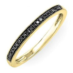 DazzlingRock Collection 0.12 Carat (ctw) 10K Gold Round Black Real Diamond Ladies Wedding Anniversary Millgrain Stackable Band