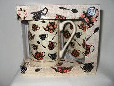 Tea Cup Coffee Mug Box Gift Set Flower 10 Oz w/ Coaster or Lid Kent Pottery New #KentPottery