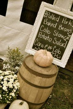 Chalkboard menu, ours is pulled pork BBQ, baked mac n cheese, pies, 7 layer salad and more yumminess Rustic Anniversary Party, 50th Wedding Anniversary, Anniversary Parties, Anniversary Ideas, Wedding Reception Food, Wedding Menu, Wedding Ideas, Reception Ideas, Trendy Wedding