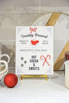 hot cocoa sign, hot cocoa sign printable, 3d hot cocoa sign #christmasprintable #polymerclay Simple Christmas, Christmas Diy, Christmas Decorations, Budget Home Decorating, Decorating Blogs, Polymer Clay Christmas, Christmas Printables, Cocoa, Craft Projects