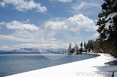 A springlike day in CA in mid January still sees snow in Lake Tahoe.