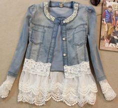 DIY ~ CLOTHES JEANS & LACE JACKET Jaqueta Molequinha no Airu