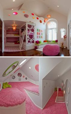 Awesome bedrooms - Bunk Bed With Secret Room (Bunk Bed With Secret Room) design ideas and photos Dream Rooms, Dream Bedroom, Room Decor Bedroom, Diy Bedroom, Teen Bedroom, 4 Year Old Girl Bedroom, Pool Bedroom, Castle Bedroom, Teenage Bedrooms