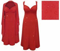 39b1c82cf98b4 Customizable Red Slinky w Red Glitter Hearts - Plus Size   SuperSize  Princess Seam Dress Set 0x 1x 2x 3x 4x 5x 6x 7x 8x 9x