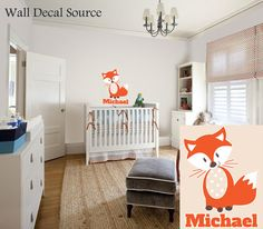 Fox Wall Decal - Baby - Boys Wall Decals - Name Wall Decals - Vinyl Sticker from Kids Wall Decal Source