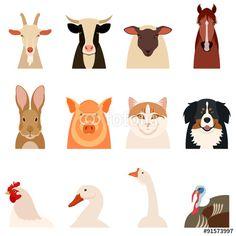 Vektor: Farm animals flat icons