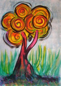 Tree - lollipop (Картина),  21,5x30,5 cm - Natalia Кislitsa A lollipop tree is written with acrylic on paper