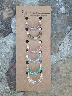 Heart Wine Glass Charms / Markers Set of Six by CraftyRiot, $12.50. Love the 'packaging' too