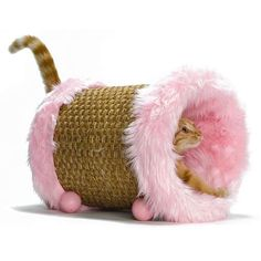 I think I could make this one.  Just need a nice sturdy wicker clothes hamper and some faux fur.  Then some balls for the legs to stabilize.
