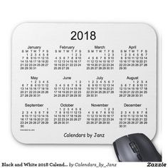 Black and White 2018 Calendar Mouse Pad