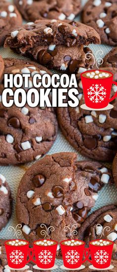 christmas baking These delicious and easy Hot Chocolate Cookies are our favorite Christmas Cookie! A simple drop cookie, these are as easy to make as your favorite chocolate chip cookies, but they taste like hot chocolate and marshmallows! Hot Chocolate Cookies, Chocolate Cookie Recipes, Easy Cookie Recipes, Dessert Recipes, Dinner Recipes, White Chocolate, Oven Recipes, Chocolate Covered, Baking Chocolate
