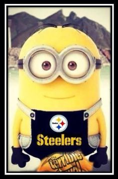 For my mom. even minions are steelers fans :) But Football, Pittsburgh Steelers Football, Pittsburgh Sports, Falcons Football, Football Baby, Pittsburgh Penguins, Here We Go Steelers, Steelers Stuff, Steelers Fans