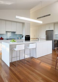 Flooring with white kitchen