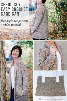 Crochet Cardigan Pattern for Beginners – Free Pattern + Video Tutorial This easy, cotton crochet cardigan pattern for beginners uses a very simple construction to create a show-stopping look with entry level skills. Pull Crochet, Mode Crochet, Crochet Coat, Crochet Cardigan Pattern, Crochet Shawl, Crochet Clothes, Sewing Clothes, Crochet Sweaters, Free Crochet Sweater Patterns