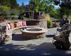 Performing the Fire Pit Design Ideas in More Dinner and Party: Backyard Fire Pit Exterior Inspiration Outdoor Classic Circled Fire Pit Seating Rounded Fire Pit Ideas On Pavered Backyard As Inspiring Small Patio Ideas On Outdoor Fire Pit Backyard, Backyard Patio, Backyard Landscaping, Backyard Ideas, Patio Ideas, Landscaping Ideas, Backyard Fireplace, Backyard Retreat, Outdoor Ideas