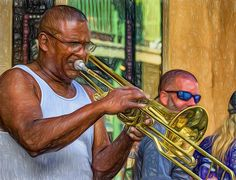 Feel It - New Orleans Jazz 2.  The trombone player in Doreen's Jazz New Orleans group gets lost in his music. They preform regularly at the corner of Royal and St Peter St in the French Quarter. Paint version.