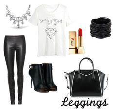 """""""bw leggings"""" by roula-otinanai on Polyvore featuring The Row, WithChic, Bling Jewelry, Givenchy, Yves Saint Laurent, Saachi, Leggings and WardrobeStaples"""