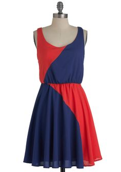 Color Study Dress - Mid-length, Orange, Blue, Color Block, Casual, A-line, Tank top (2 thick straps), Summer