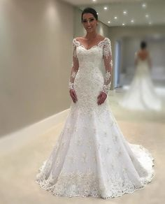 Elegant Lace Vneck Neckline Mermaid Wedding Dresses With Appliques is part of Long sleeve wedding dress lace Romantic lace motifs drift over the bodice and hemline of this unique wedding dres - Lace Wedding Dress With Sleeves, Wedding Dress Train, Long Sleeve Wedding, Elegant Wedding Dress, Perfect Wedding Dress, Dream Wedding Dresses, Bridal Dresses, Romantic Lace, Dresses Uk