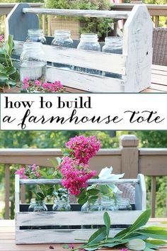 DIY farmhouse wood tote tool box home decor tutorial - How to Build a Wood Tote. Farmhouse Inspired Decorating Idea @refreshrestyle1