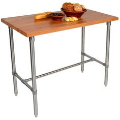 The John Boos Cucina Classico Kitchen Island features a butcher block top made of American Cherry and a food-service grade steel base. The island also has center bracing that allows seating on either side of the table. The kitchen island is available with a 48 inch width and a 36 inch or 30 inch height.