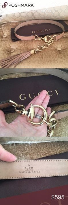 Gucci Leather Bamboo Tassel Chain Belt Beautiful Authentic Gucci bamboo Tassel belt. This chic belt bag is finely crafted of luxurious blush leather, featuring a thick gold looped buckle with a suspended gold loop chain hanging with a gold knobbed leather strand tassel embellishment at trim. Excellent condition. Comes with dustbag. Size 85/34. Gucci Accessories Belts