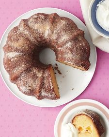 This crowd-pleasing cake features the classic peaches-and-cream flavor pair. Instead of icing, the warm cake gets a liberal dusting of cinnamon sugar.