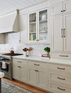 Diy Kitchen Cabinets, Kitchen Cabinet Colors, Kitchen Tops, Green Cabinets, Kitchen Remodeling, Different Color Kitchen Cabinets, Cream Colored Kitchen Cabinets, Kitchen Cabinet Hardware, Antique White Cabinets Kitchen