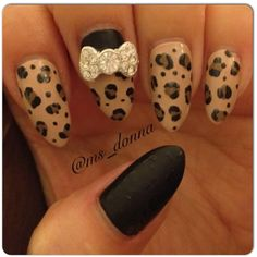 Black Matte & Leopard Print Stiletto Press-On Nails with Crystal Bow ($45) ❤ liked on Polyvore featuring beauty products, nail care, nail treatments, nails, makeup, beauty, nail polish and nail art