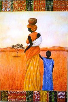 Artista: José Martinatti. African Drawings, African Art Paintings, African Artwork, Human Painting, African American Art, African Women, Exotic Art, Desert Art, Pintura Country