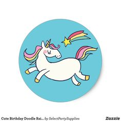 Cute Birthday Doodle Rainbow Unicorn and Stars. Classic Round Sticker