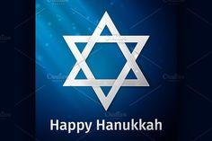 Happy Hanukkah holiday background by Netkoff on Creative Market Hanukkah Traditions, Happy Hanukkah, Hanukkah Greeting, Logo Template, Hand Drawn Lettering, Rosh Hashanah, Typographic Design, Menorah, Star Of David
