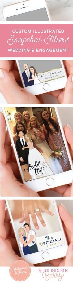 OBSESSED with these illustrated filters! Shop custom wedding Snapchat geo filters for your wedding or engagement party! Only from Miss Design Berry!