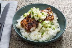 Tamarind-Glazed Cod with Lime Rice & Cucumber Relish. Visit https://www.blueapron.com/ to receive the ingredients.
