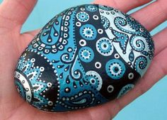 LisaEverettDesigns - Hand Painted Metallic Turquoise Abstract Original Art River Rock Stone