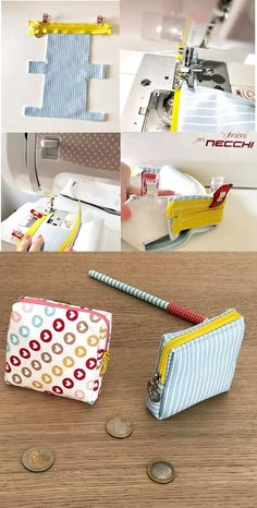 Ma petite Trousse de toilette [Tuto – BagsYou can find Coin purses and more on our website. Wallet Sewing Pattern, Hand Sewing, Sewing Patterns, Sewing Projects For Beginners, Diy Projects, Fabric Crafts, Sewing Crafts, Handbags For School, Sew Wallet