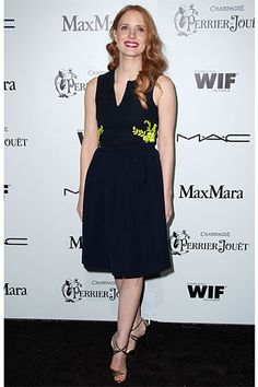 6th Annual Women in Film Pre-Oscar Party  Jessica Chastain    Read more: Oscars Parties 2013 - Red Carpet Photos from Oscar 2013 Parties - Harper's BAZAAR