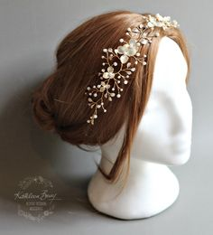 My hair piece by Kathleen Barry - Gold wire, Handmade Enamel Leaves and Pearls