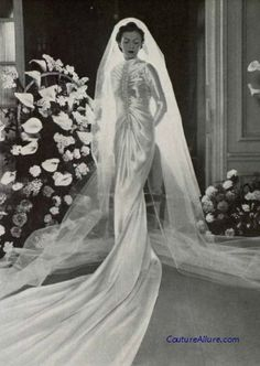 Wedding gown by Callot Soeurs, 1938.  Bride, vintage wedding gown, dress