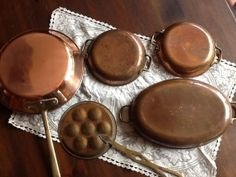 5 copper cooking pans with brass handles by GypsyRoadDesigns, $130.00